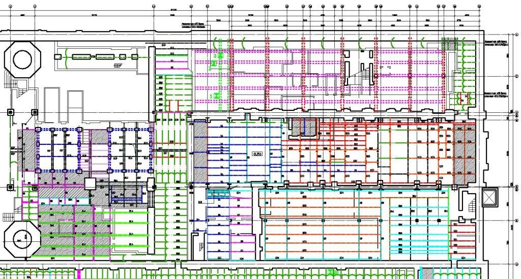 Фрагмент плана перекрытия здания ГЭС-2 на Болотной набережной. Обмерные работы выполнены в ходе комплексного обследования с целью реконструкции здания в музей современного искусства