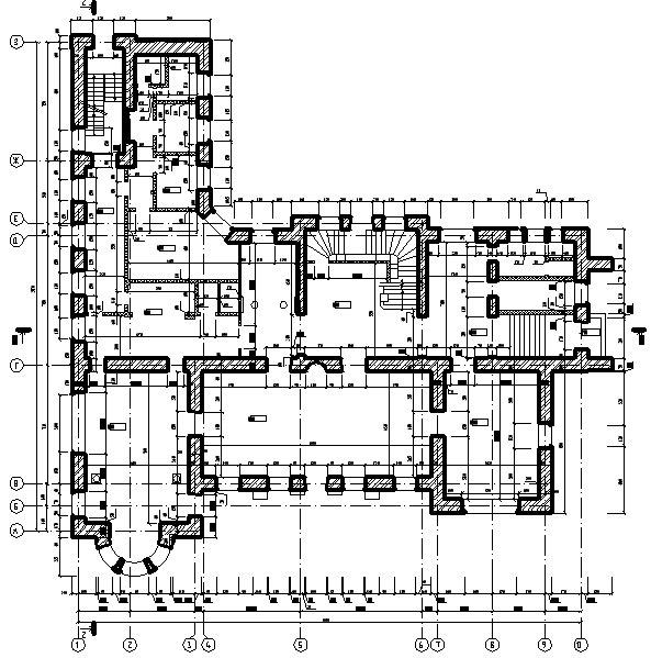 Обмерные работы. Обмерочный чертеж 1-го этажа здания культурного центра. Выполнен для возможности проведения дальнейшей реконструкции.