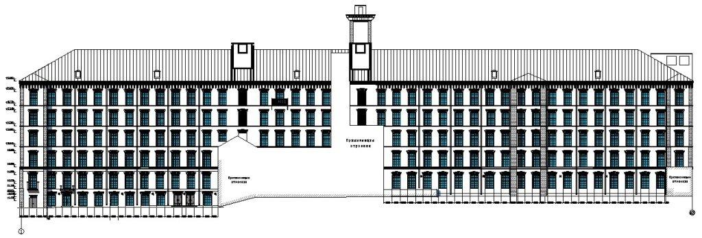 Обмерные чертежи - фасад здания Даниловской мануфактуры