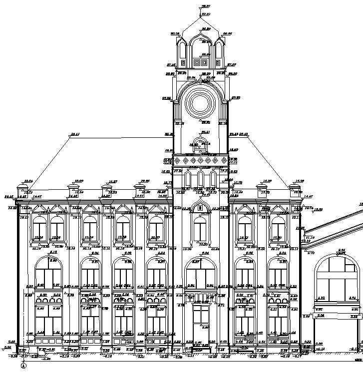 Фрагмент фасада здания, являющегося объектом культурного наследия, выполнен при помощи геодезических обмеров