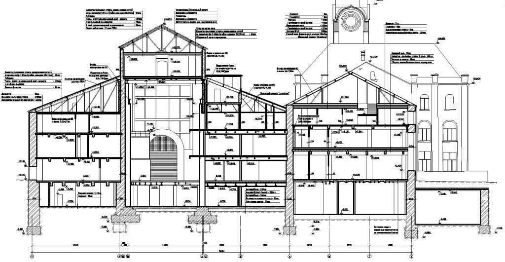 Поперечный разрез реконструируемого здания Loft-квартала Даниловская мануфактура