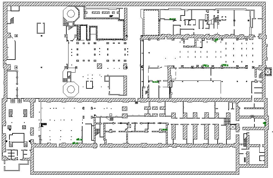 Схема несущих конструкций подвала с указанием мест проходки шурфов