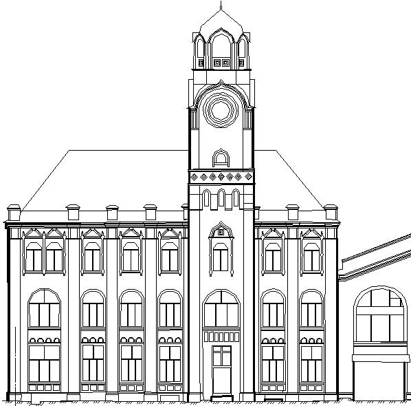 Фрагмент обмерочного чертежа фасада здания