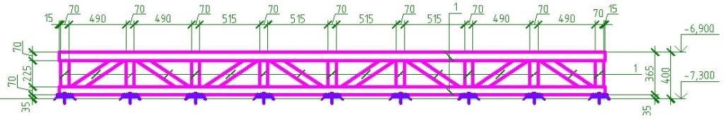 Сечение разгружающей рамы под оборудование