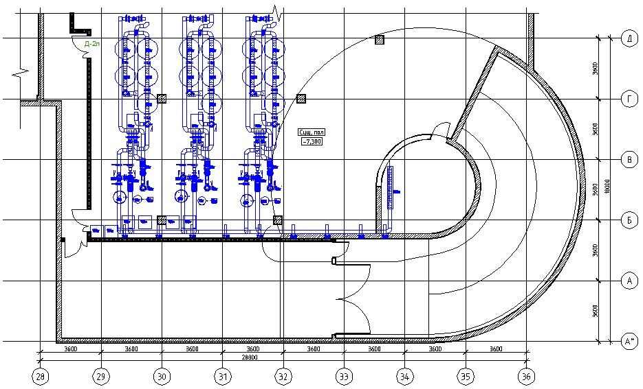 Схема размещения оборудования на обследуемом полу здания